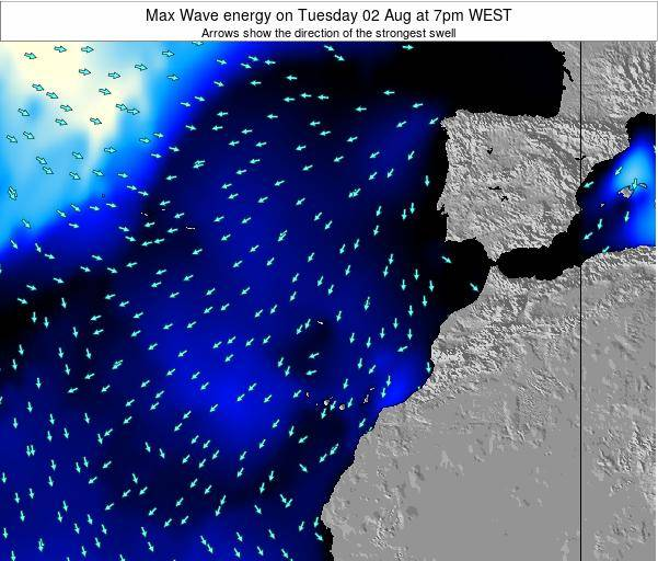 Western Sahara Max Wave energy on Saturday 20 Oct at 7pm WEST map