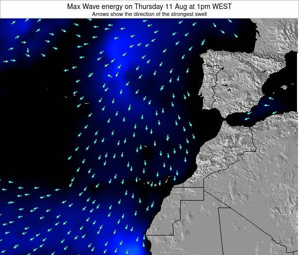 Western Sahara Max Wave energy on Saturday 23 Aug at 1am WEST
