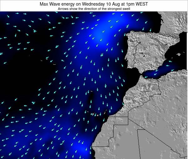 Western Sahara Max Wave energy on Tuesday 28 May at 7am WEST