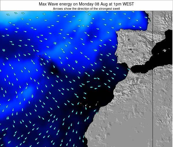 Western Sahara Max Wave energy on Saturday 02 Aug at 7am WEST