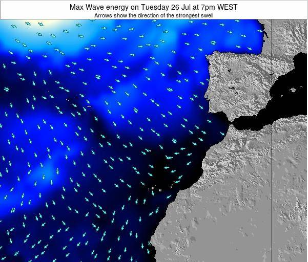 Western Sahara Max Wave energy on Tuesday 23 Oct at 7pm WEST map