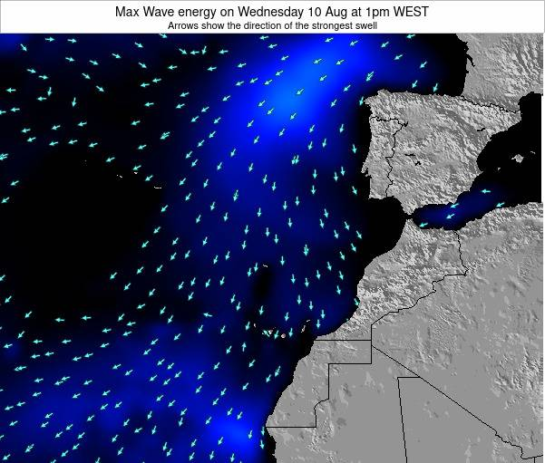 Western Sahara Max Wave energy on Wednesday 21 Mar at 6pm WET map