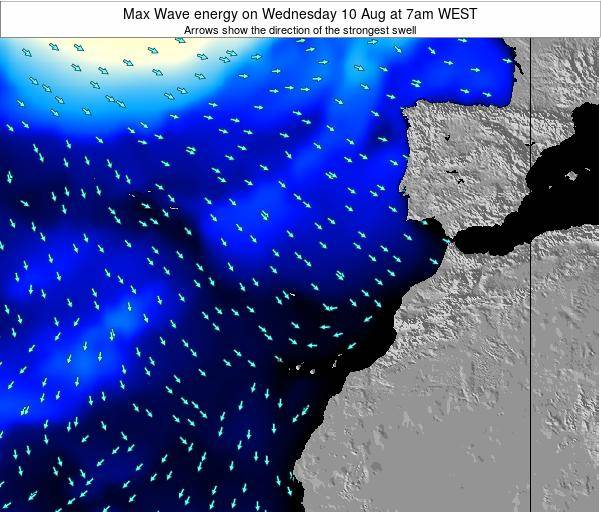 Western Sahara Max Wave energy on Wednesday 12 Mar at 6pm WET