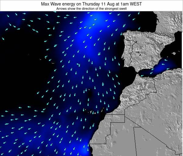 Western Sahara Max Wave energy on Tuesday 27 Feb at 6am WET map