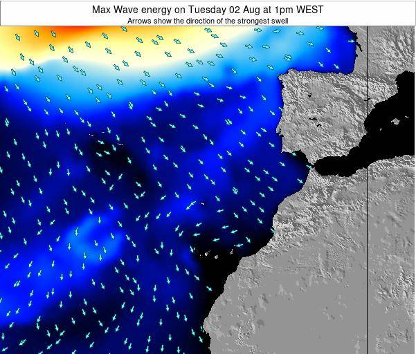 Western Sahara Max Wave energy on Thursday 13 Mar at 6pm WET