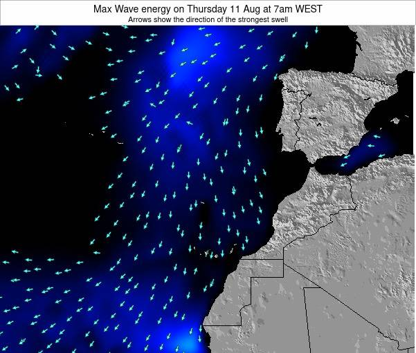 Western Sahara Max Wave energy on Tuesday 04 Nov at 6pm WET