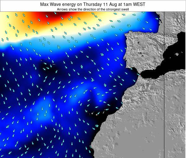 Canary Islands, Spain Max Wave energy on Sunday 16 Mar at 12am WET