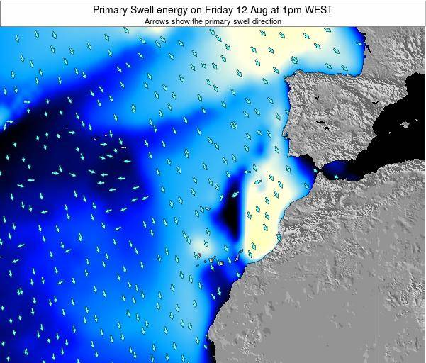 Western Sahara Primary Swell energy on Wednesday 29 Oct at 1pm WEST