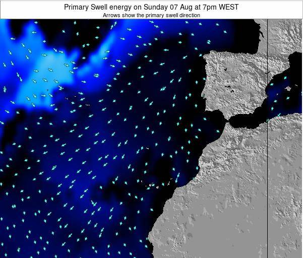 Western Sahara Primary Swell energy on Monday 28 Jul at 7pm WEST