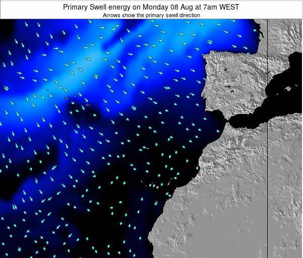 Western Sahara Primary Swell energy on Saturday 02 Aug at 7am WEST