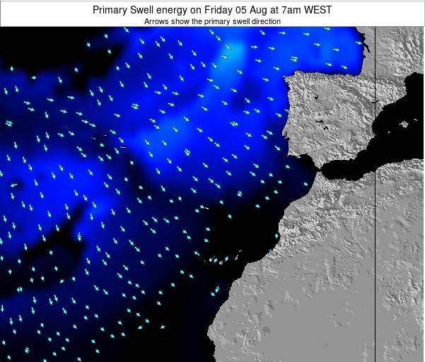 Western Sahara Primary Swell energy on Monday 21 Apr at 1pm WEST