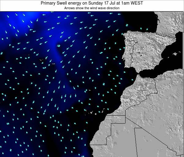 Western Sahara Primary Swell energy on Saturday 26 Apr at 1pm WEST