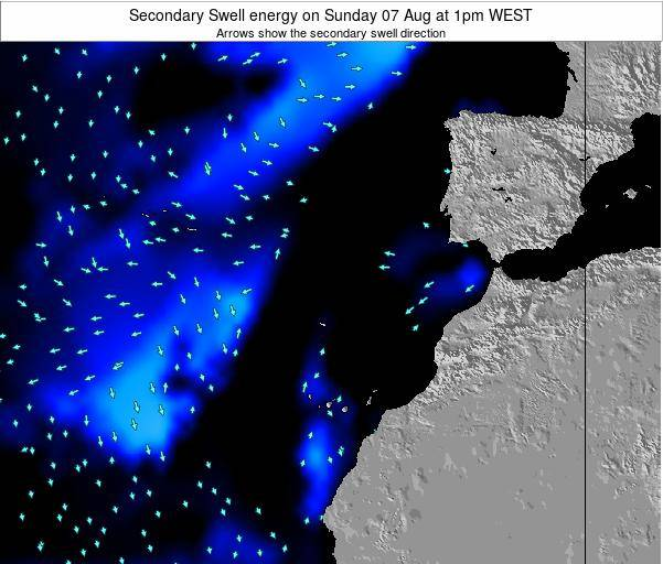 Canary Islands, Spain Secondary Swell energy on Monday 16 Dec at 6am WET