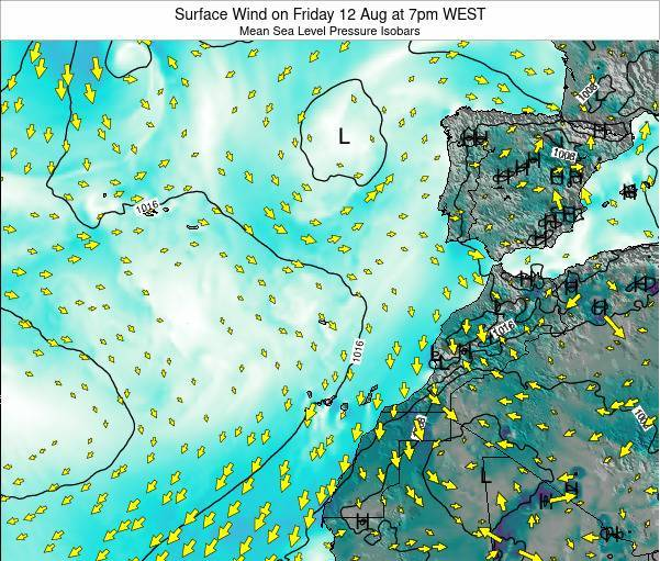 Madeira Portugal Surface Wind on Tuesday 28 May at 7pm WEST map