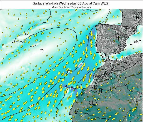 Madeira Portugal Surface Wind on Saturday 25 May at 7am WEST map