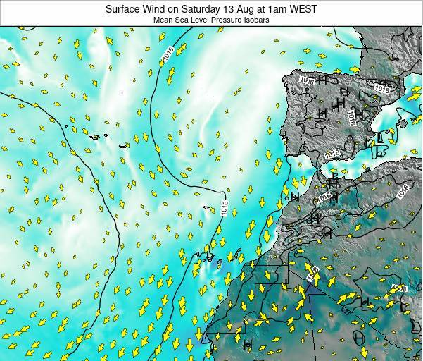 Madeira Portugal Surface Wind on Saturday 26 Apr at 7pm WEST map