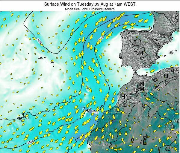 Madeira Portugal Surface Wind on Monday 04 Aug at 1am WEST map