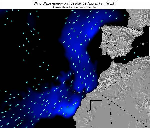 Canary Islands, Spain Wind Wave energy on Monday 20 May at 1am WEST