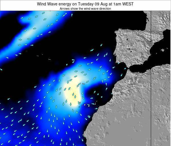 Canary Islands, Spain Wind Wave energy on Saturday 25 May at 1am WEST