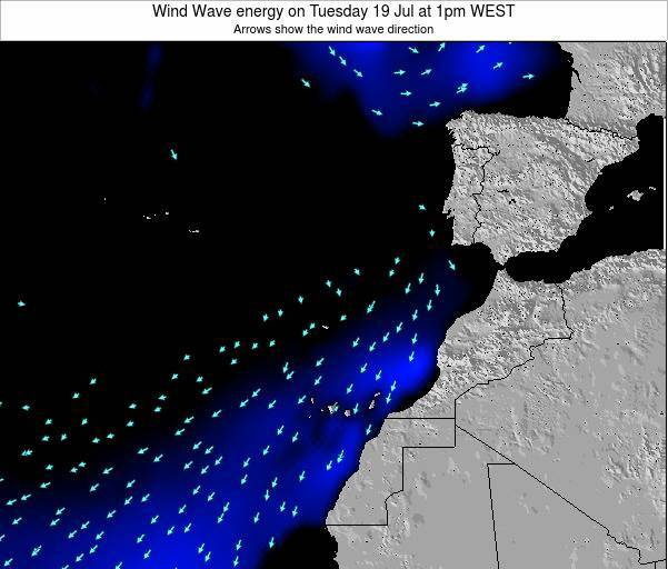 Canary Islands, Spain Wind Wave energy on Tuesday 28 May at 1pm WEST