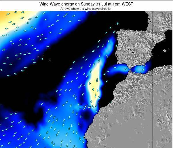 Canary Islands, Spain Wind Wave energy on Saturday 01 Jun at 1am WEST