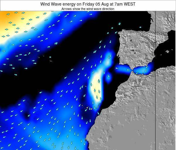 Canary Islands, Spain Wind Wave energy on Tuesday 18 Mar at 12am WET