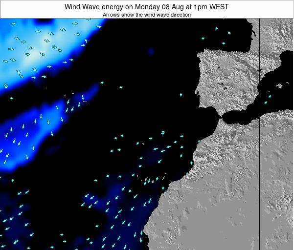 Canary Islands, Spain Wind Wave energy on Monday 27 May at 1am WEST