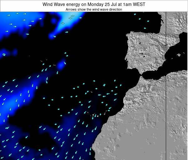 Canary Islands, Spain Wind Wave energy on Monday 21 Apr at 7am WEST