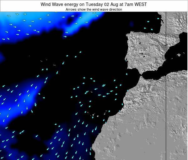 Canary Islands, Spain Wind Wave energy on Monday 27 Oct at 7am WEST