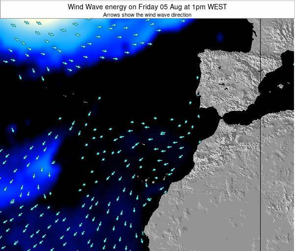 Canary Islands, Spain Wind Wave energy on Thursday 23 May at 1am WEST