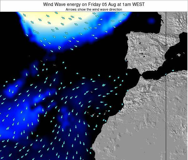 Canary Islands, Spain Wind Wave energy on Tuesday 28 May at 7am WEST