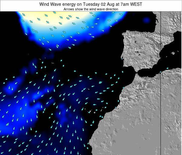 Canary Islands, Spain Wind Wave energy on Monday 27 May at 7am WEST