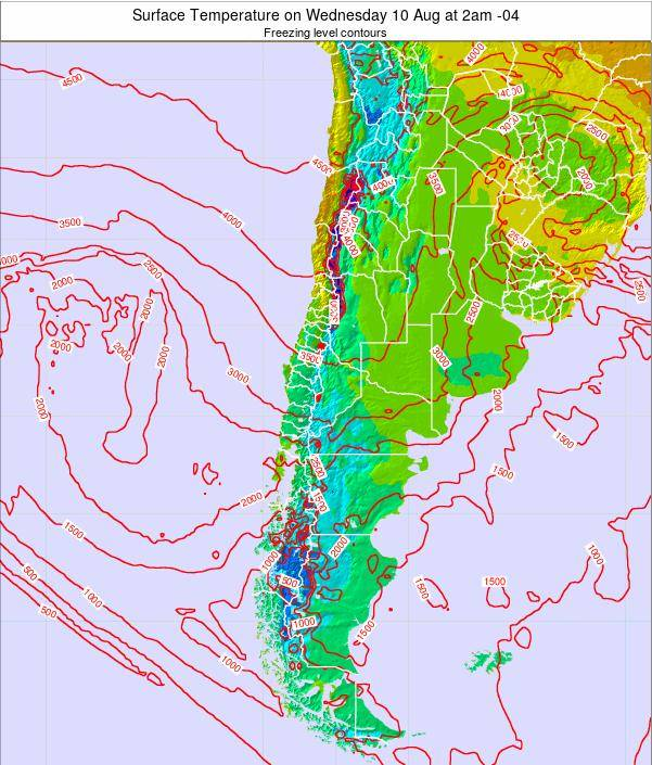 Chile Surface Temperature on Monday 27 May at 2am CLT