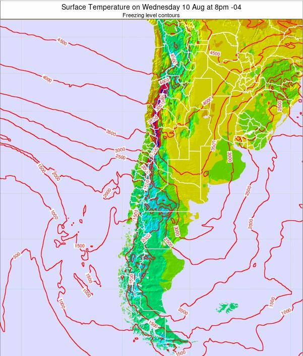 Chile Surface Temperature on Saturday 25 May at 8am CLT