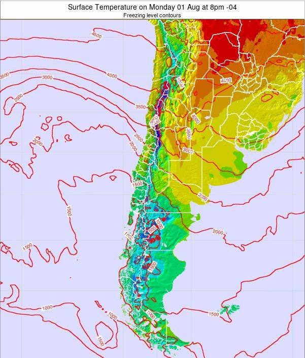 Chile Surface Temperature on Saturday 22 Jun at 2am CLT