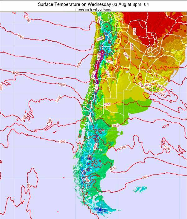 Chile Surface Temperature on Monday 27 May at 2pm CLT
