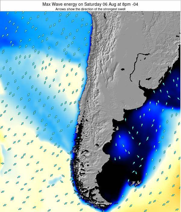 Chile Max Wave energy on Tuesday 23 Oct at 3pm CLT map