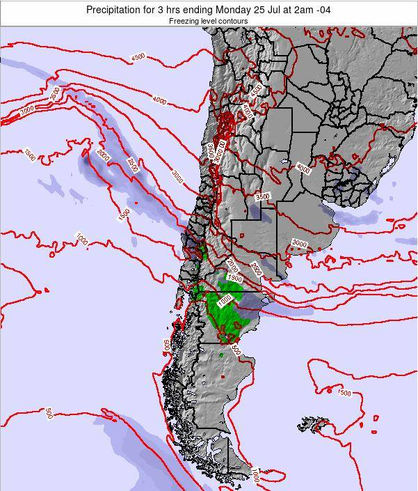 Chile Precipitation for 3 hrs ending Monday 22 Oct at 9pm CLT map
