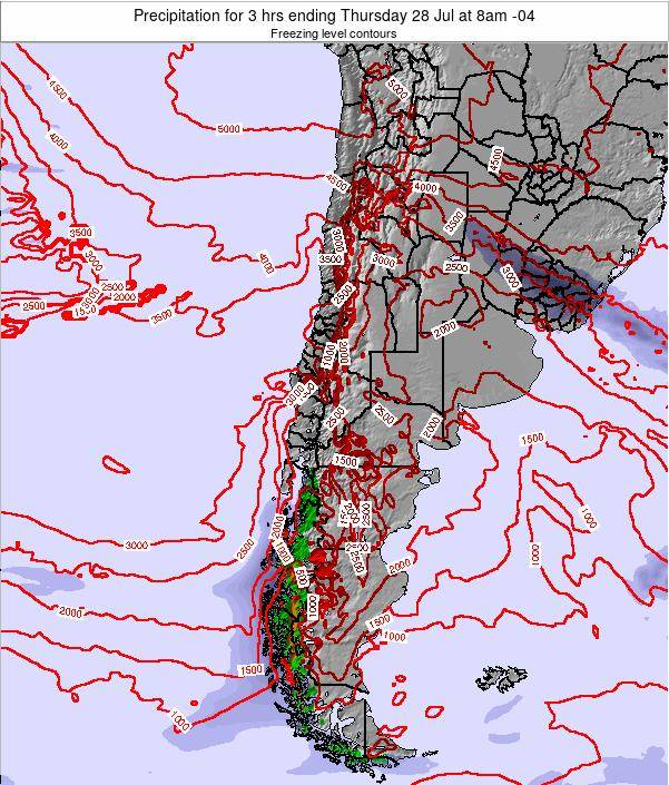 Chile Precipitation for 3 hrs ending Saturday 21 Jul at 9am CLT map