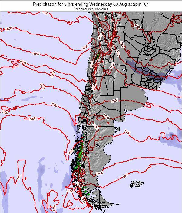 Chile Precipitation for 3 hrs ending Sunday 23 Dec at 3am CLT map