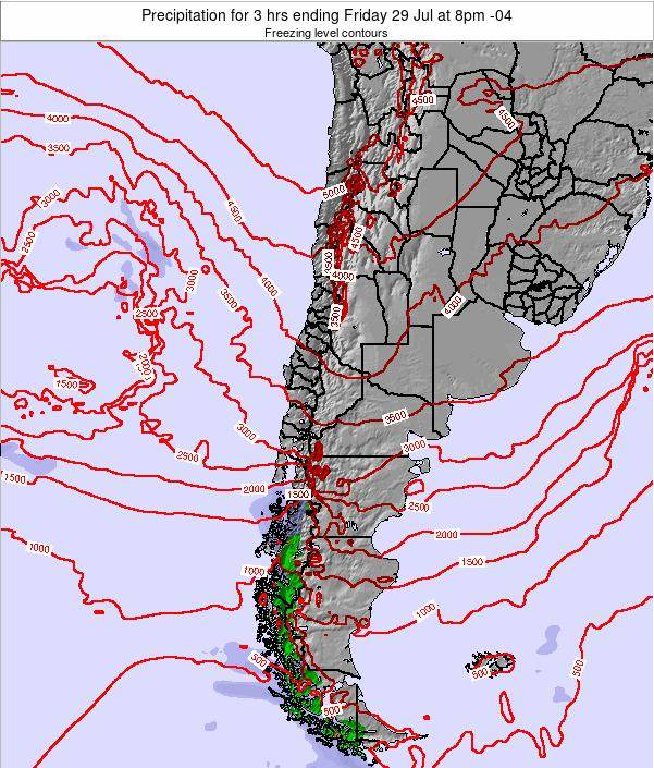 Chile Precipitation for 3 hrs ending Thursday 04 Dec at 9am CLST