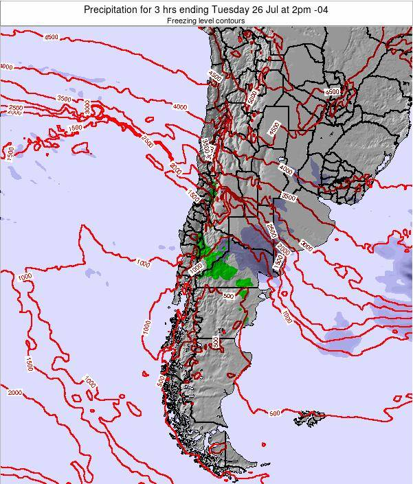 Chile Precipitation for 3 hrs ending Thursday 13 Mar at 3am CLST
