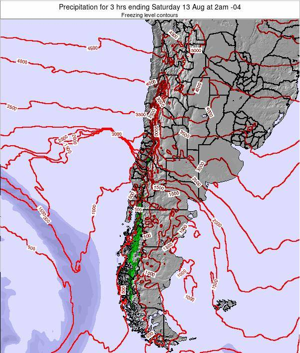 Chile Precipitation for 3 hrs ending Saturday 02 Jul at 9pm CLT