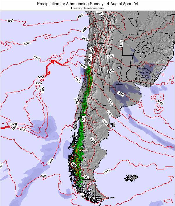 Chile Precipitation for 3 hrs ending Tuesday 29 Jul at 2am CLT