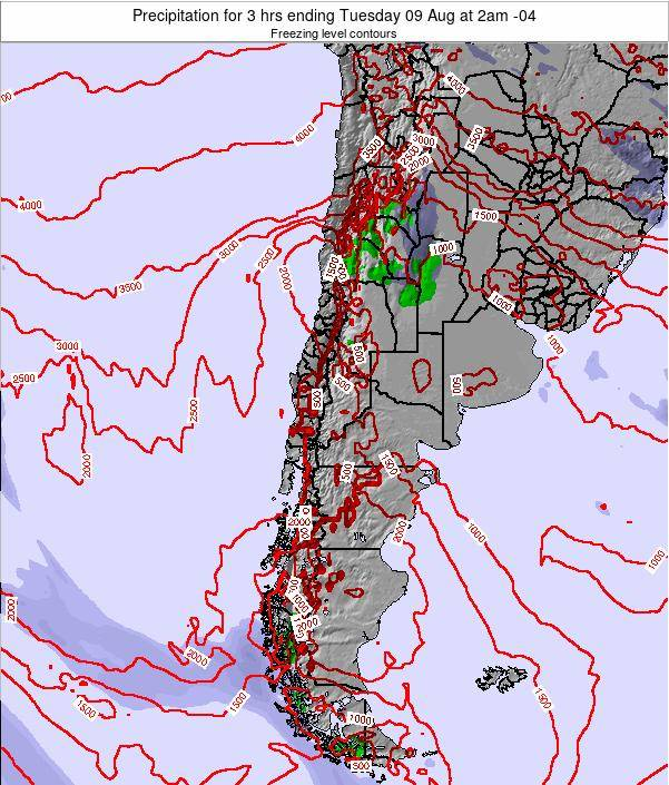 Chile Precipitation for 3 hrs ending Friday 13 Dec at 3pm CLST