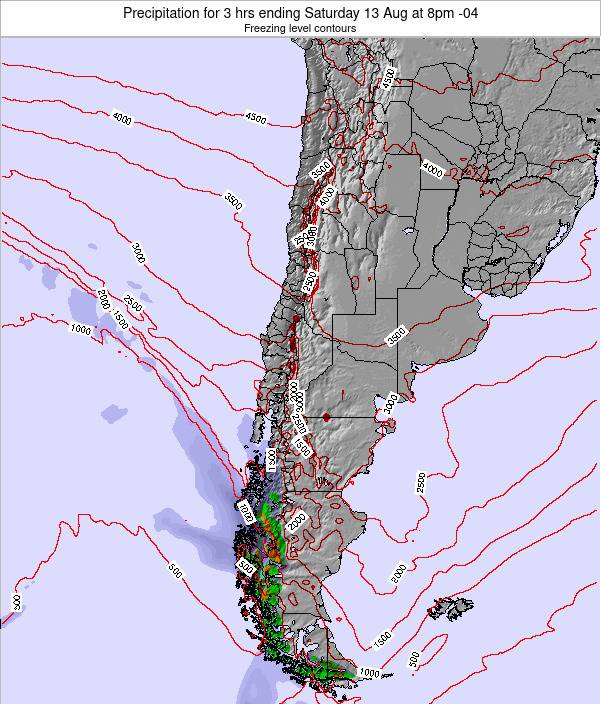 Chile Precipitation for 3 hrs ending Monday 27 May at 2am CLT