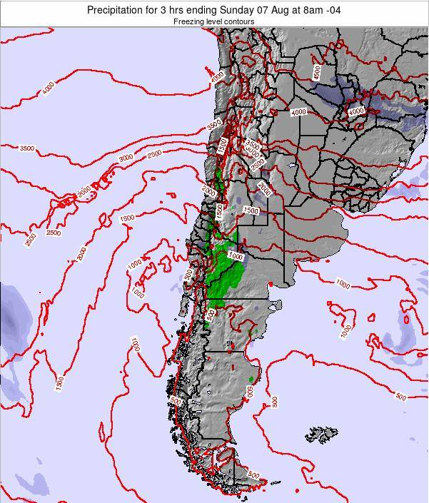 Chile Precipitation for 3 hrs ending Thursday 04 Jun at 2pm CLT