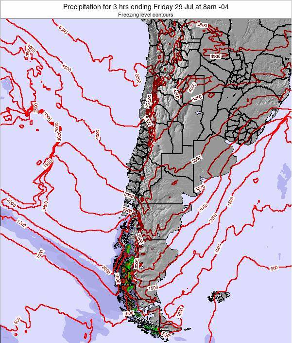 Chile Precipitation for 3 hrs ending Tuesday 05 Aug at 2am CLT
