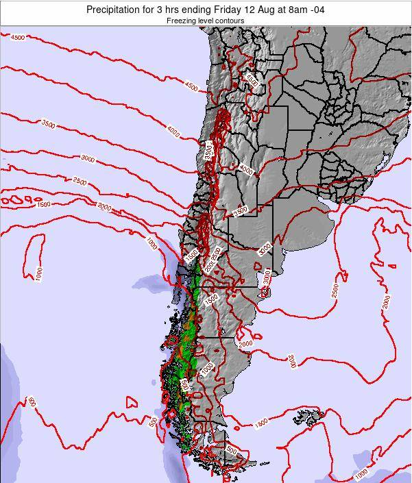 Chile Precipitation for 3 hrs ending Tuesday 29 Apr at 9am CLST