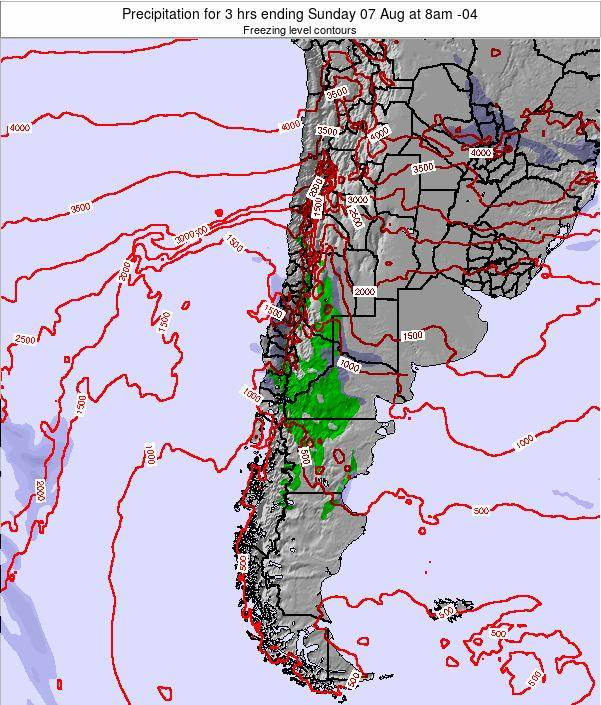 Chile Precipitation for 3 hrs ending Monday 21 Jan at 3am CLT map